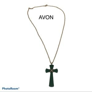"VTG AVON Faux Jade Cross Pendant GoldTone 27""Chain"